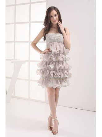 Strapless Grey Beaded Chiffon Ruffles Prom Dress