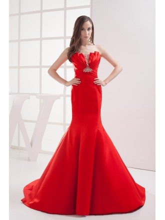 Custom Formal Red Mermaid Train Length Prom Dress