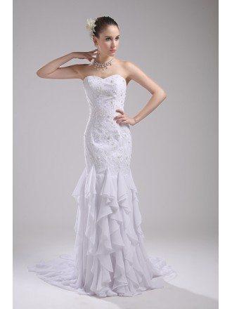 Cascading Ruffle Fitted Mermaid White Wedding Dress