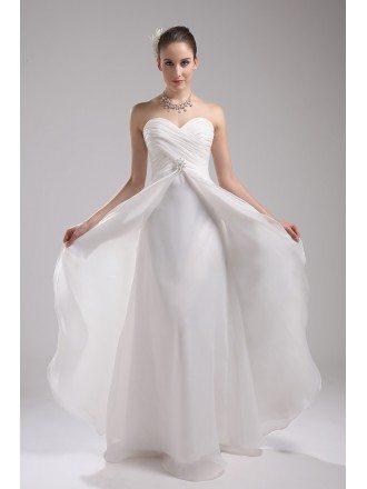 Elegant White Organza Sweetheart Aline Wedding Dress
