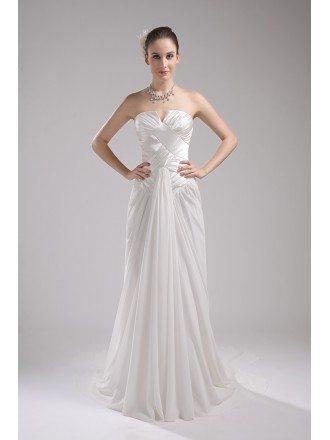 Pleated Satin and Chiffon White Aline Wedding Dress