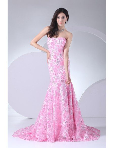 Full of Pink Flowers Sequined Mermaid Prom Dress with Train
