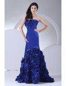 Royal Blue Strapless Cascading Ruffles Long Prom Dress