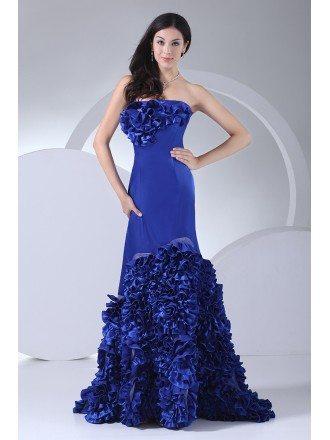 Royal Blue Strapless Cascading Ruffles Long Prom Dress