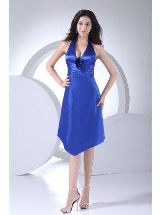 Short Halter Open Back Royal Blue Bridesmaid Dress