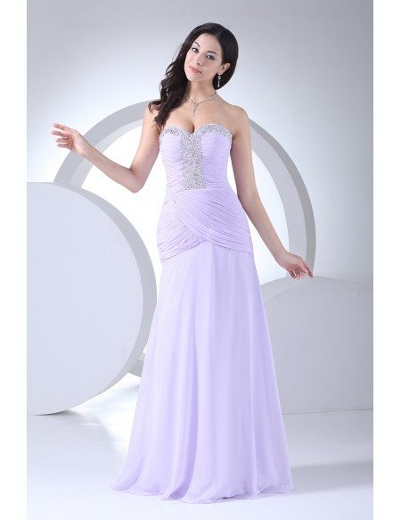 Lavender Chiffon Sequins Pleated Long Prom Dress