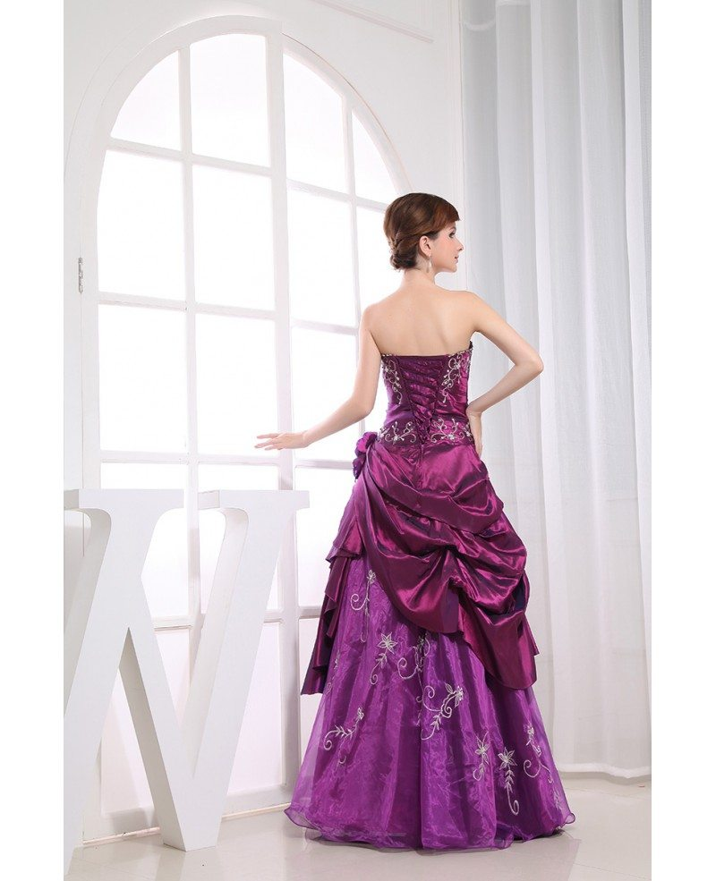 Purple Ball-gown Strapless Floor-length Satin Tulle