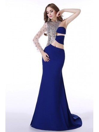 A-Line One Shoulder  Sweep Train Chiffon Prom Dress With Beading