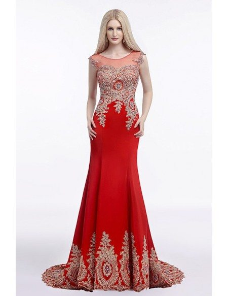 Mermaid Scoop Neck Court Train Evening Dress With Beading Appliques Lace