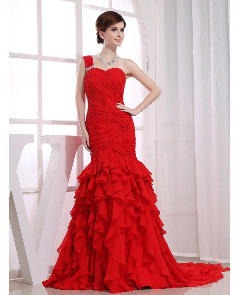 Red Mermaid One Shoulder Sweep Train Chiffon Wedding Dress With