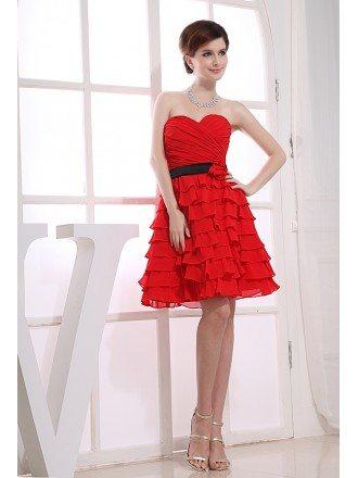 A-line Sweetheart Short Chiffon Bridesmaid Dress With Cascading Ruffle