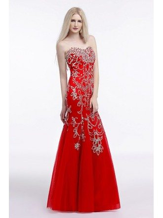 Mermaid Sweetheart Floor-Length Evening Dress With Beading