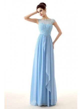 A-Line Scoop Neck Floor-Length Chiffon Prom Dress With Lace