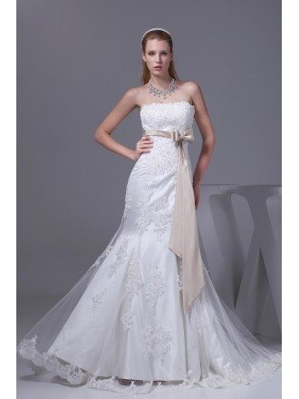 Lace Tulle Mermaid Wedding Dress White with Champagne Sash
