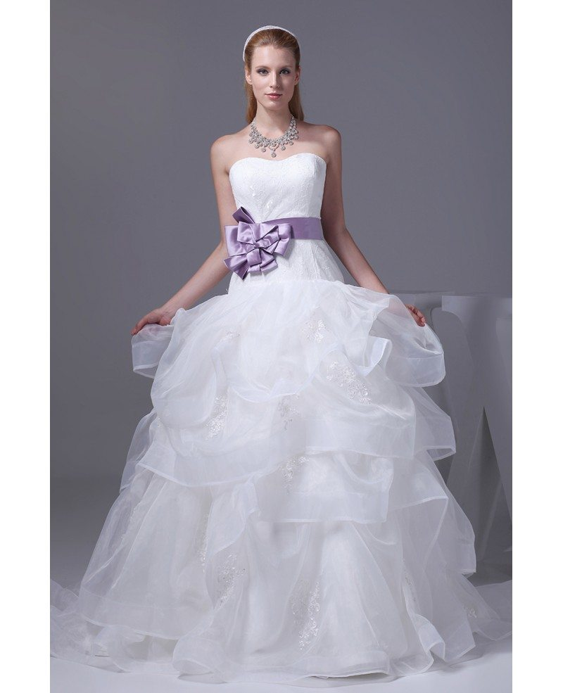 Wedding Gowns With Sashes: Cascading Ruffles Organza Sweetheart Wedding Dress With