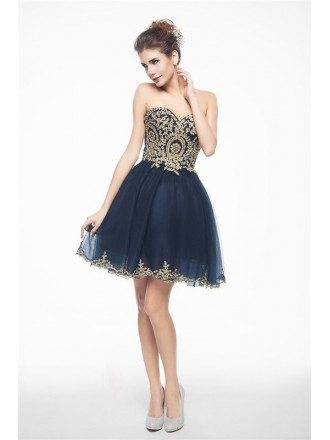 Navy Blue Mini/Short Strapless Beaded Top Tulle Sparkly Puffy Prom Dress