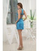 Sheath Halter Short Sequined Prom Dress