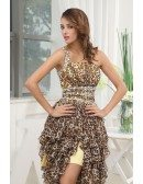 Printed A-line One-shoulder Knee-length Chiffon Prom Dress With Beading