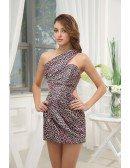 Printed Sheath One-shoulder Short Chiffon Prom Dress