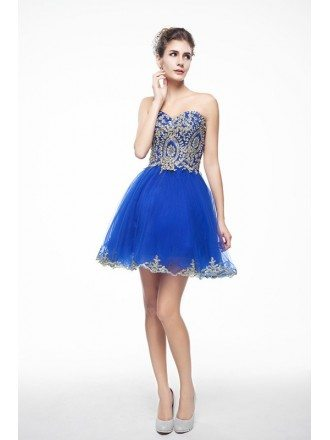 Royal Blue Mini/Short Strapless Beaded Top Tulle Sparkly Puffy Prom Dress