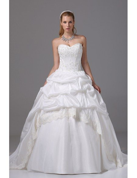 Ballgown Taffeta Lace Sweetheart Taffeta Wedding Dress
