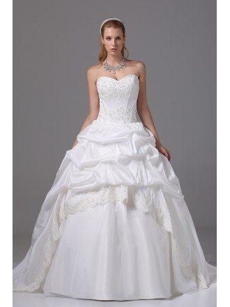 Ballgown Taffeta Lace Sweetheart Taffeta Wedding Dress