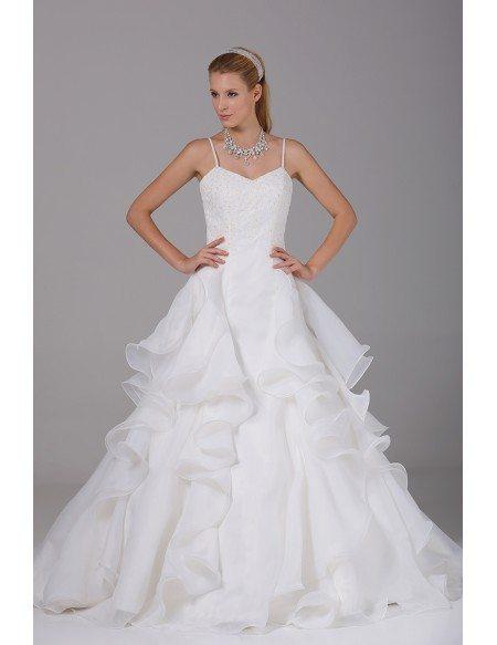 Pretty Organza Ruffles Wedding Dress with Spaghetti Straps