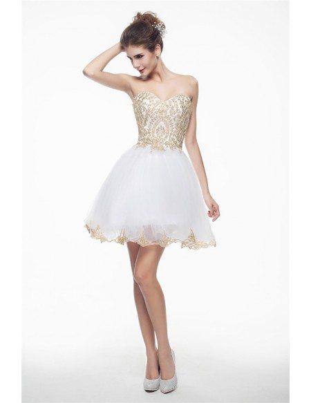 Short Strapless Sparkly Prom Dresses