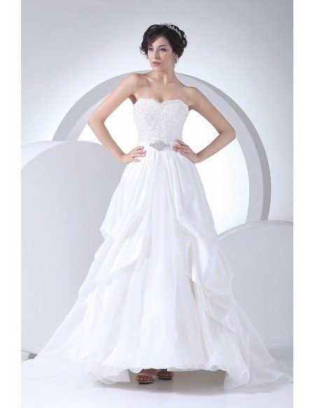 Strapless Lace Beaded Aline Wedding Dress with Train
