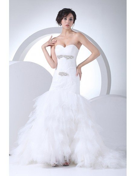 Beaded Crystals Mermaid Tulle Sweetheart Wedding Dress with Bling