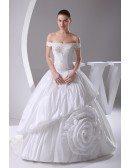 Off the Shoulder Romantic Beaded Taffeta Floral Wedding Dress