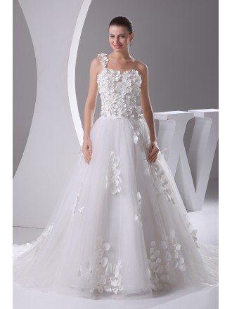 Beautiful Handmade Flowers One Shoulder Aline Tulle Wedding Dress