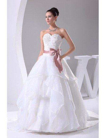 Wedding Dress White With Pink Sash