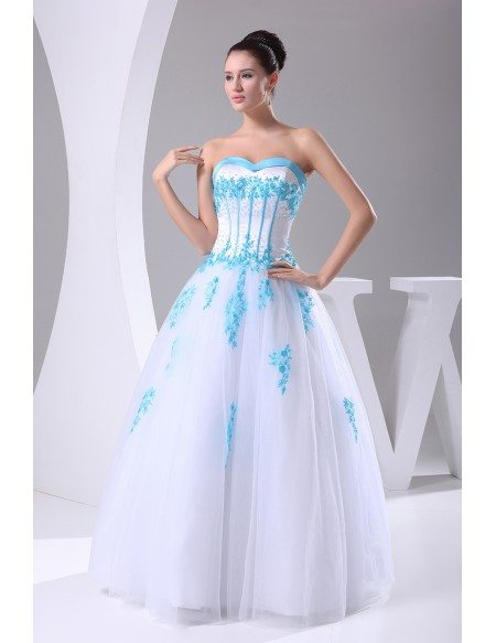 Blue and White Lace Sweetheart Wedding Dress Ballgown with Color