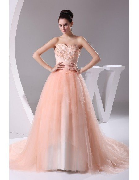 Pink Sweetheart Beaded Train Length Tulle Ballgown Wedding Dress