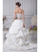 Classic Beaded Taffeta Strapless White with Champagne Sash Wedding Dress