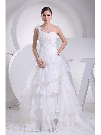 Organza Cascading Ruffles One Floral Shoulder Wedding Dress