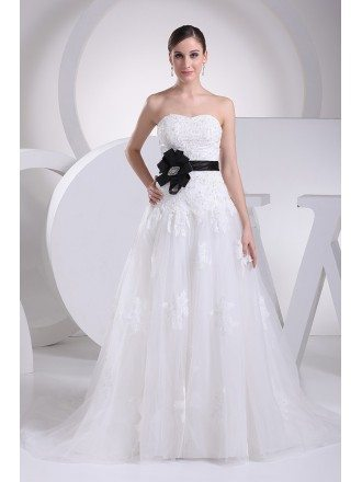 Lace Top Aline Tulle Wedding Dress with Sash
