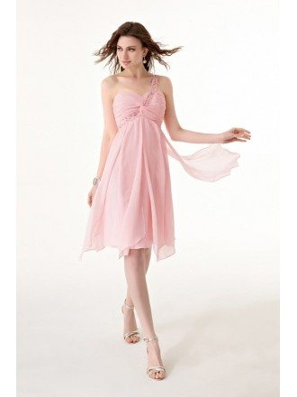 Short Beaded One Shoulder Sweetheart Chiffon Dress with Ruffles