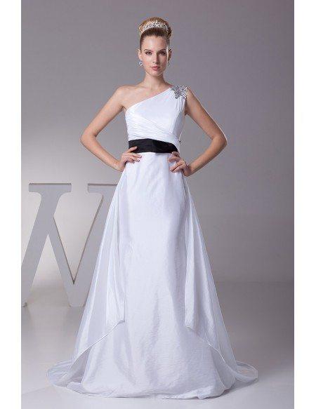 Simple One Shoulder Taffeta White with Blue Sash Wedding Dress