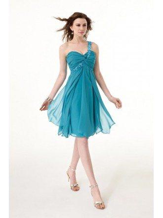 Blue Short Beaded One Shoulder Sweetheart Chiffon Dress with Ruffles