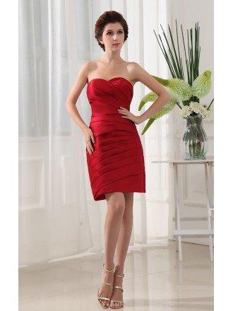 Sheath Sweetheart Short Satin Cocktail Dress