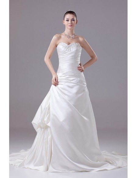 Ivory Satin Sweetheart Long Train Wedding Dress