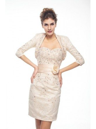 Short Sweetheart Beaded Lace Bridesmaid Dress with Sash Flower