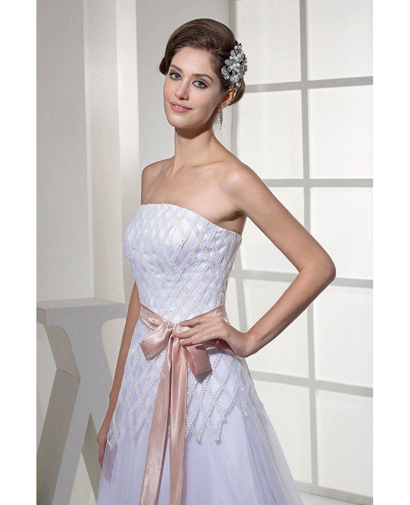 White With Pink Sash Cross Pattern Sequins Aline Wedding