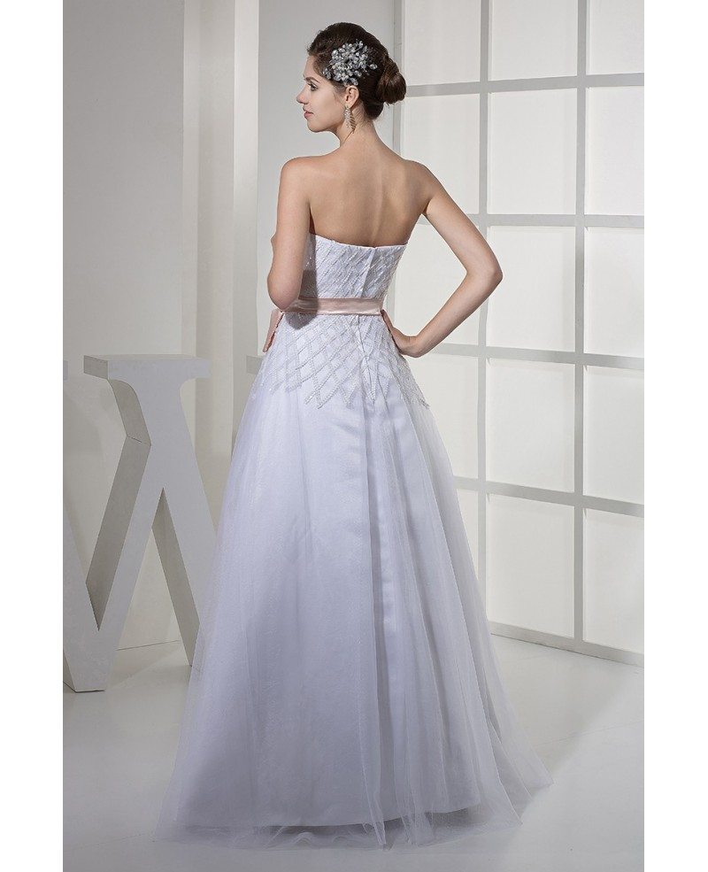 Aline Wedding Gown: White With Pink Sash Cross Pattern Sequins Aline Wedding