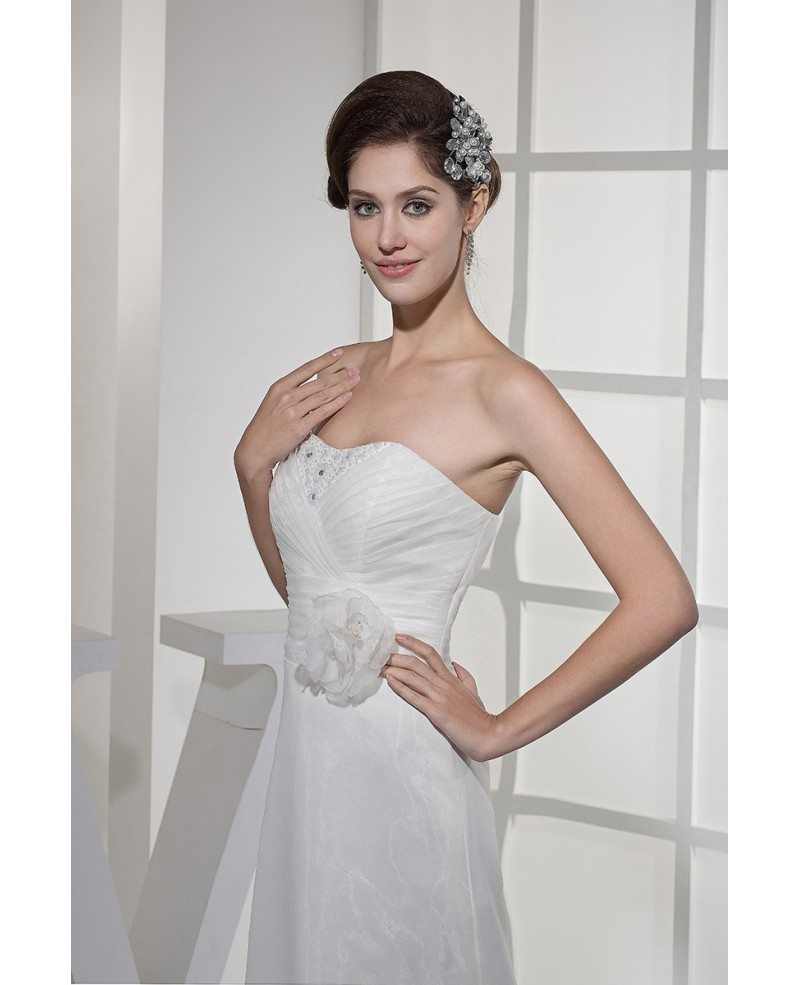 Aline Wedding Gown: Simple Organza Aline Wedding Dress With Flower #OPH1125
