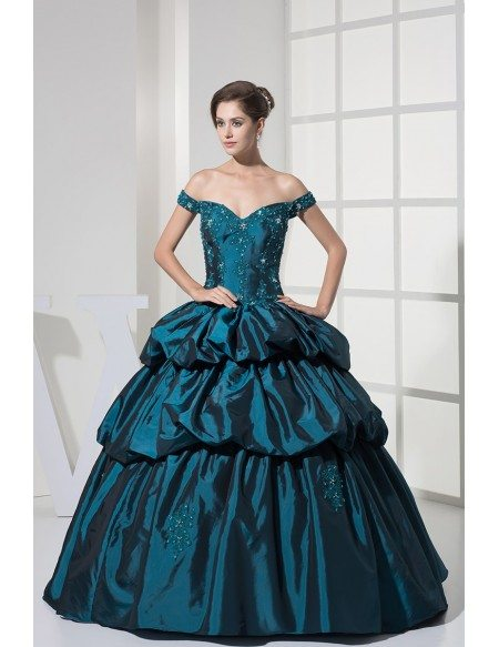 Off the Shoulder Ink Blue Lace Taffeta Ballgown Color Wedding Dress