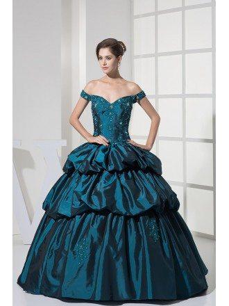 Off the Shoulder Ink Blue Lace Taffeta Ballgown Color Wedding Dress