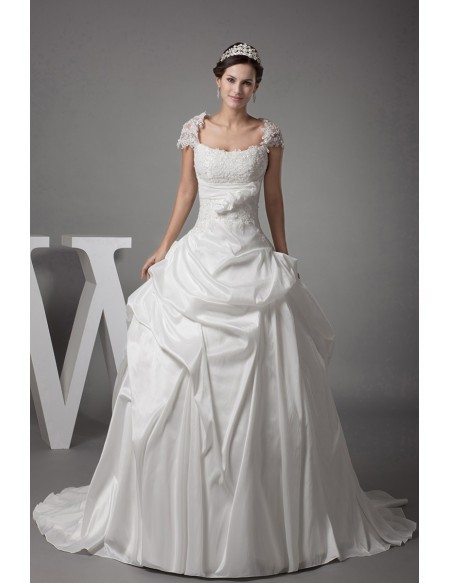 Lace Cap Sleeved White Ballgown Taffeta Wedding Dress